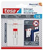 tesa Verstellbarer Klebenagel für Tapeten und Putz 2 kg - Höhenverstellbarer, selbstklebender Wandnagel - Bis zu 2kg Halteleistung pro Nagel - 2-er Pack