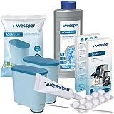 Wessper Rundum-Pflegeset für Kaffeevollautomaten Philips, Saeco (2x AquaClean Filter, komp. mit CA6903, Entkalker 500ml, 10 x 2g Reinigungstabletten, Reinigungsbürste)