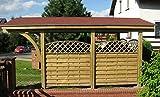 Jardinion Carport Nevada Single, Dach Schwarz 607 x 362 x 300cm - Bausatz, Wetterfest, Hochwertiges Holz