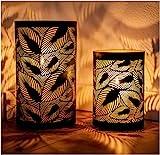 ZEYA Windlicht schwarz Metall 2er Set | Windlicht Gold Deko | Perfekte Dekoration Wohnzimmer | Windlicht Laterne Blätter | Deko Wohnung modern
