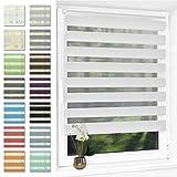 Doppelrollo klemmfix Duo Rollo ohne Bohren,Rollos für Fenster und Tür,lichtdurchlässig und verdunkelnd 90 x 150 cm(BxH) Weiß