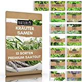 15er Kräuter Samen Set von Naturlie, 15 Sorten Küchenkräuter im Kräutersamen Set, Kräuterset und Gewürzsamen für Küche, Balkon, Garten oder Hochbeet