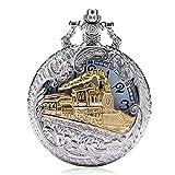 YTDTKJ Taschenuhr, groß, mit Zügen-Lokomotive, hohl, mit Kette, bestes Geschenk für Männer, Frauen, Jungen (Silber)
