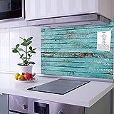 banjado® Küchenrückwand Glas als Spritzschutz Küche 60x40cm – Fliesenspiegel mit Motiv Blaue Holzlatten – Nischenrückwand selbstklebend ohne Bohren Sicherheitsglas - magnetisch & beschreibbar