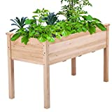 Topeakmart Hochbeet aus Massivholz, rechteckig, erhöht, Pflanzpflanzen, Naturholz