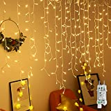 UISEBRT LED Lichterkette Lichtervorhang 15m für Außen Innen - 600 LEDs Warmweiß Lichterkettenvorhang mit 8 Modi, IP44 Wasserfest für Weihnachten Halloween Garten Balkon (15m, Eisregen Lichterkette)