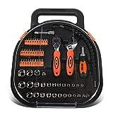 DNA MOTORING TOOLS-00026 64-teiliges Werkzeugkoffer für Mechaniker, Auto & Home Repair Tool Box mit Schraubendreher-Bit-Werkzeug, Ratsche und Schraubenschlüssel, 1 Handwerkzeug-Set, Orange/Schwarz
