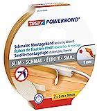 tesa doppelseitiges Montageband Powerbond SCHMAL, 2 x 5 m x 9 mm