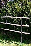Hirsch Terracotta Rankgitter aus Holz/Metal stabil und freistehende Dekoration für den Garten in Naturrost als Rankhilfen für Kletterpflanzen Rosen Himbeeren Höhe 170 cm