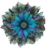 Pfau-Muster-Kranz, eleganter Blauer Pfau-Sommer-Frühlings-Deko-Netz-Haustür-Kranz, edel und einzigartige Heimtextilien