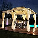 Swing & Harmonie LED - Pavillon 3x4m Minzo - inkl. Seitenwände mit LED Beleuchtung + Solarmodul Designer Gartenpavillon optional mit Moskitonetz Gartenzelt Partyzelt (mit Moskitonetz, anthrazit)