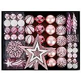 YILEEY Weihnachtskugeln Weihnachtsdeko Set Rosa 88 STK in 19 Farben, Kunststoff Weihnachtsbaumkugeln Box mit Aufhänger Christbaumkugeln Plastik Bruchsicher, Weihnachtsbaumschmuck, MEHRWEG