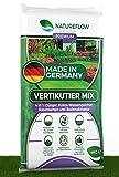 NATUREFLOW Premium Vertikutiermix 4in1 für gesundes und dichtes Wachstum - Premium Rasensamen mit Dünger, Bodenaktivator, Wasserspeicher - 4kg Rasenreparaturmischung