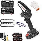 4 Zoll Mini Profi Kettensäge, Kabellose Elektrische Handkettensäge, Garten Kettensägenmotor Säge Set zum Schneiden von Astholz, mit 2 Batterien, Handschuh und Brille (1-4inch)