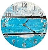 DKISEE Blaue Holzlatten Uhr Quarzuhr für Küche Wohnzimmer Schule 30,5 cm