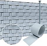LARS360 20 Stück Grau Sichtschutzstreifen aus Hart PVC Einzelstreifen Zaunsichtschutz Doppelstabmattenzaun Sichtschutz für Doppelstabmatten Gartenzaun Balkon - Höhe: 19cm, Länge: 250cm