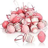 com-four® 36x Ostereier zum Aufhängen - Handbemalte Osterdeko mit tollen Mustern - Deko Ostereier in Mehreren Rosa-Farben (rosa. weiß. grau)