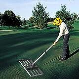 YLKCU Rasenplanierrechen mit 43 Zoll Griff, Golf Garden Grass Level Levelawn, ausgestattet Heavy Duty Rasenrakel Edelstahl Rasenniveau Rechen, Edelstahl Großraumschieber Rasenplanierrechen