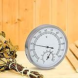 BITHEOUT Saunaraum-Hygrometer, verschleißfestes Thermo-Hygrometer Edelstahl für Dampfbad für Saunaraum