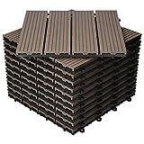 ECD Germany WPC Terrassenfliesen 30x30 cm 11er Spar Set für 1m² Dunkelbraun in Holzoptik für Garten Balkon Bodenbelag mit Drainage, Klicksystem Terrassendielen Balkonfliesen Klickfliesen Holzfliesen