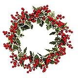 BESPORTBLE Weihnachtskranz Rote Beere künstliche Beere Holly Berry grüne Blätter Türkranz Wandkranz Adventskranz für Winter Weihnachten Parties Hochzeiten Zuhause Fenster Wand Tür 40 cm