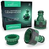 RASENWERK® - 2-in-1 Wasserhahn Verbinder für 1/2 Zoll und 3/4 Zoll - Wasserhahnaufsatz - Premium Hahnverbinder - Adapter Wasserhahn - 2 Stück