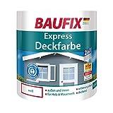 BAUFIX Express-Deckfarbe, Wetterschutzfarbe weiß, 2.5 Liter, wetterbeständige Deckfarbe für außen und innen, geeignet für Holz, Putz, Mauerwerk, Möbel, Zäune, schnelle Trocknung
