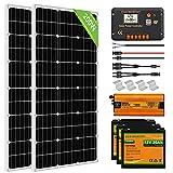 ECO-WORTHY 200W 12V Solaranlage Komplettset Inselanlage mit Lithiumbatterien: Solarpanel monokristallin mit drei 20Ah LiFePO4 Akkus + 600W Wechselrichter + Laderegler, für Wohnmobil Boot Haushalt