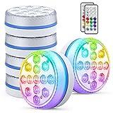 Smarich Poolbeleuchtung Unterwasser, IP68 Wasserdichtes LED Unterwasserlicht mit RF Fernbedienung, RGB Multi Farbwechsel Pool Beleuchtungen mit 13 LEDs, Pool Licht für Schwimmbad, Party (6 Stück)