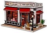 3D-Puppenhaus Miniatur-DIY-Modell mit Möbeln, Kuchengeschäft, Holzhaus, handgefertigtes Spielzeug mit Staubschutz und Musik