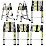 Robuste 2,6 m Teleskopleiter Verlängerungs Aluminiumleiter Teleskop Leiter Klapp Trittleiter für Mehrzweck-Sicherheitsstandard EN131 150kgs/330lbs Kapazität (8.5FT)