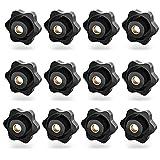 12 Stück Schwarz Kunststoff Sterngriffmutter Innengewinde M8,Sterngriffschraube Rändelschraube,Sternschraube Rändelmutter Für Werkzeugmaschine(Lewttyer)