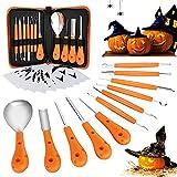 XDDIAS 11 Stück Kürbis Schnitzset, Edelstahl Halloween Kürbis Schnitzwerkzeug, Kürbis-Carving-Set DIY Dekoration mit Tragetasche und 10 teiligen Carving Schablonen