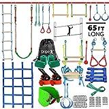 Ninja Warrior Hinderniskurs für Kinder – 2 x 18 m längste Ninja-Slackline mit komplettem Zubehör für Kinder, Schaukel, Trapezschaukel, Seilleiter, Hindernisnetz plus 1,2 m Armtrainer