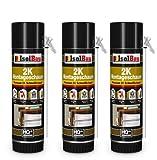 Isolbau 2K Montageschaum - Premium PU-Schnellschaum für Türen, Fenster, Dämmung & Montage - 3 x 400 ml