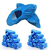 Schuhüberzieher Einweg rutschfest, Überschuhe Wasserdicht Einweg Überziehschuhe Plastik, Überzieher für Schuhe, 100 Stücke - Blau DE