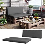 Vicco 2er Palettenkissen Set Sitzkissen Rückenkissen Palettenmöbel Auflagen Anthrazit (Sitz+Rückenkissen, Anthrazit)