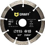 GRAFF Diamantscheibe 115mm für Beton, Granit, Bordstein, Natur- und Kunststein - Standard Diamanttrennscheibe für Winkelschleifer und Flex - Segmenthöhe 10mm