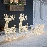 Lights4fun 160er LED Rentiere mit Schlitten Rentier Figuren mit Timer Weihnachtsbeleuchtung für außen und innen Weihnachtsfigur