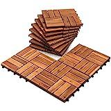 EINFEBEN Holzfliesen aus Akazien Holz 30x30cm, 12 Latten Fliese 1m², Bodenfliesen für Terrassen und Balkon(11 Stück)