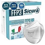 10x FFP3 Maske CE Zertifiziert Filterklasse BFE ≥99% PFE ≥99% FFP3 Masken SANITIZIERTE und Einzeln versiegelte ISO 13485 Medizinprodukte Atemschutzmaske CE Hergestellt verpackt in Italien