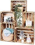 LAUBLUST Vintage Holzkisten 5er Set Geflammt - 50x40x30cm / 40x30x25cm   Weinkisten & Obstkisten   Deko- & Möbelkisten