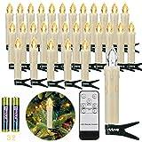 30er LED Weihnachtskerzen Kabellos, Warmweiß Christbaumkerzen Kabellos, led kerzen weihnachtsbaum, IP64, für Weihnachtsbaum, Weihnachtsdeko. mit Batterie Fernbedienung, LED Lichterkette Kerzen.