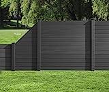 HORI® WPC-Zaun I Sichtschutz-Zaun, Steckzaun, Gartenzaun Komplettset I beidseitig glatt I 1x Schräg + 1x kl. Pfosten I zum einbetonieren I grau
