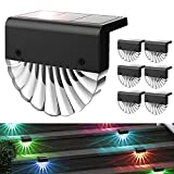 LHY LOFT Solarleuchte LED Acryl Straßenlaterne Wasserdicht RGB Bunt Warmweiß Solar Dekor Lampe für Pfad Treppe Deck Zaun Garten, 6er