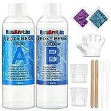 Epoxidharz, transparent, ungiftig, 385 g/360 ml, 1: 1-Verhältnis; Kunstharz-Beschichtung, kristallklar, für Holz, künstlerische Kreationen, Restauration, Wandfliesen, Bodenbelag