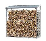 QUICK STAR Aluminium Kaminholzregal XXL 185 x 70 x 185 cm Garten Kaminholzunterstand 2,3 m³ Kaminholzlager Stapelhilfe Aussen