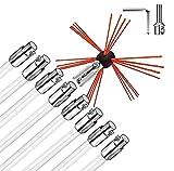 SKYWPOJU Schornsteinfeger-Kit 26FT Länge, Schornsteinreinigungswerkzeug-Kits mit 8 flexiblen Nylonstäben, Schornsteinbürsten-Kit, angetrieben durch Bohrer zum Kehren des Kamins