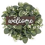 Künstliche Eukalyptus Kranz Blätter Zweig GirlandeWillkommensschild Türkranz Willkommen Türschild Wandkranz für Wohnzimmer Wanddeko Hochzeit Frühling Haustür Deko (33 X33 X6 cm)