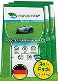 Premium Rasensamen für Mähroboter 3x1kg Made in Germany - Roboter Grassamen - Schnellkeimend und Vital - Selbstdüngend für pflegeleichten Garten, 3er-Pack